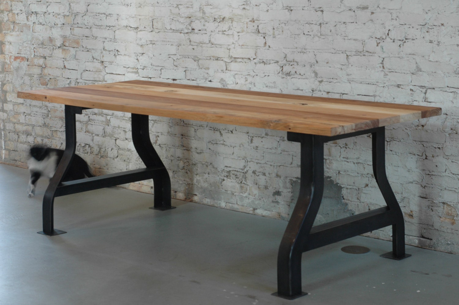 Customizable reclaimed wood conference table or work desk by for Reclaimed wood table designs