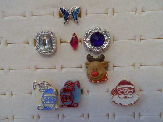 8 Vintage Rings Novelty Gumball machine plastic and metal