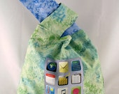 Knitting Project Bag - Loop Handle Tote - Reversible Bag with Apps Panel - Green/Periwinkle