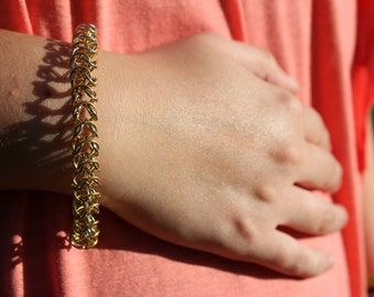 Chainmaile Bracelet - Gold and Silver Box Weave