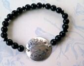 I Love U Mom Sterling Beaded Bracelet