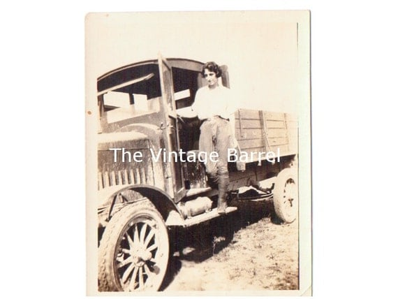 Vintage Photo Woman on Antique Truck 1920s Black and White Photograph
