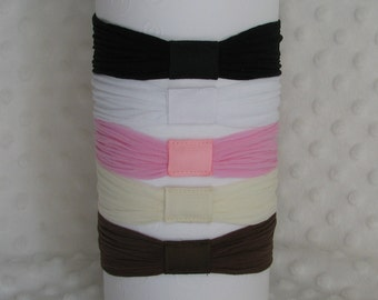 Set of 5 Super-Stretchy Interchangeable Nylon Headbands for Baby and Toddler: Black, White, Pink, Ivory, and Brown