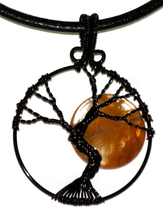 Haunted Forest Full Moon Tree of Life Wire Wrapped Pendant