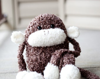Knit Monkey Stuffed Animal Toy: Jerry the Fluffy Amigurumi Monkey