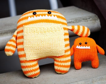 Darius & Danny: Daddy and Baby Amigurumi Hand Knit Stuffed Monsters.