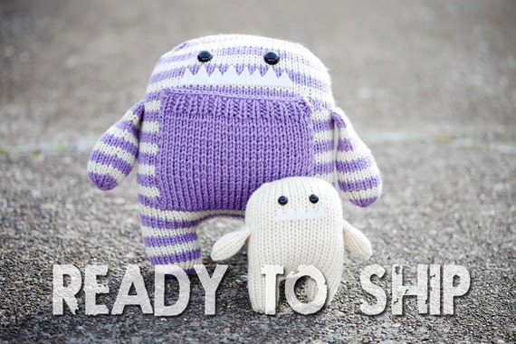 SALE--Daphne & Delilah: Momma and Baby Amigurumi Hand Knit Stuffed Monsters