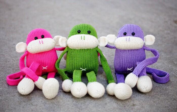 Knitting Stuffed Animals : Knit monkey stuffed animal toy jerry the amigurumi