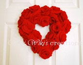 Heart Rose Wreath - Pick Your Color