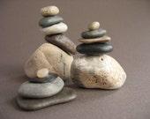 tiny BEACH STONE CAIRN favor group Zen Meditation rock sculpture fossil  c021