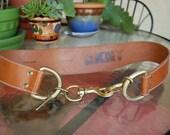 Wide NATURAL leather belt DKNY boho hippie
