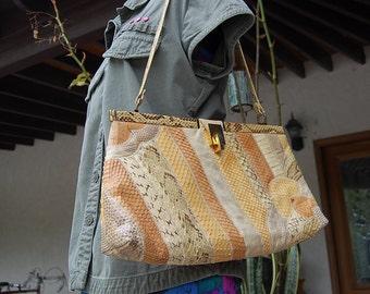 Vintage SNAKE reptile skin leather purse bag collage