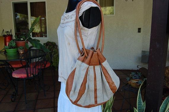 SALE// Vintage CANVAS and leather HOBO bag purse hippie boho