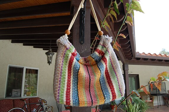 VINTAGE 70's hippie bohemian WOVEN bag satchel hobo bag purse