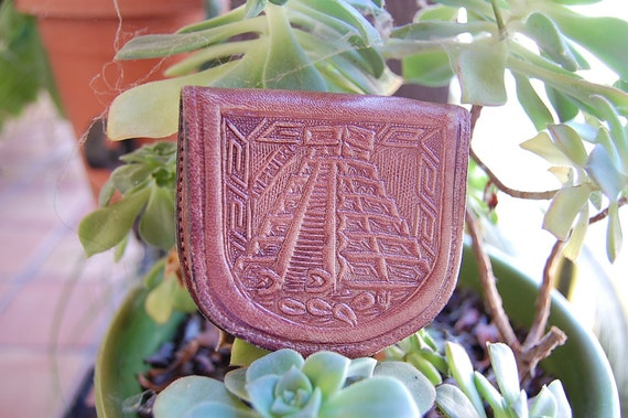 Vintage 1970's TOOLED leather wallet MEXICO coin purse AZTEC calendar
