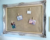 Framed shabby farmhouse vintage chickenwire memo board picture display