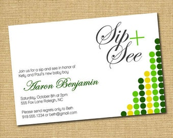 On The Dot: Printable Baby Boy Sip and See Invitation
