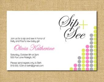On The Dot: Printable Baby Girl Sip and See Invitation