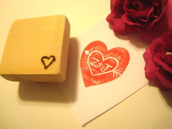 Hand Carved Initials Stamp for Engagement Wedding Bridal Shower Bride Groom Invitations Cards Guest Book Thank Yous Valentines Day House
