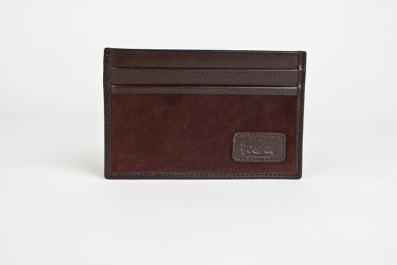 Slim Credit Card Carrier Wallet - Brown Kidskin and Lamb Suede Leather