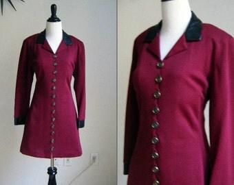Vintage 1980's Caroline Rose Burgundy and Leather Dress - Size S