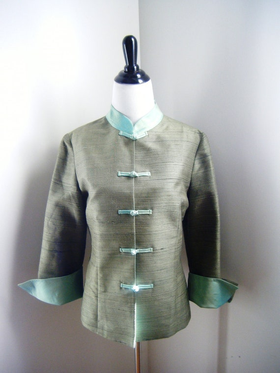 Vintage Asian Style Green and Mint Green Jacket with Madarin Collar