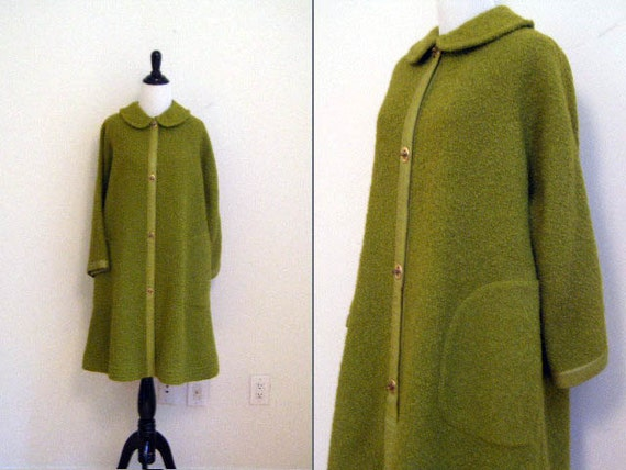Vintage 1960's Bonnie Cashin for Sills Green Mohair Boucle Sweater Coat
