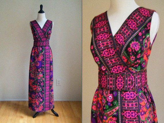 RESERVED 1970's Purple Pink Floral Maxi Dress / Jumpsuit