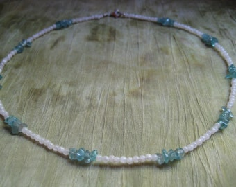 Beaded Necklace - Moonstone, Apatite, and Sterling Silver - Jewelry by Jyoti McCall