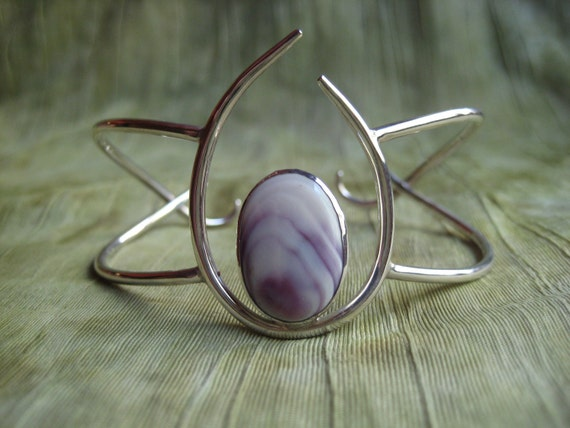 Cuff Bracelet - One Of A Kind - Sterling Silver and Shell - Modern Jewelry by Jyoti McCall