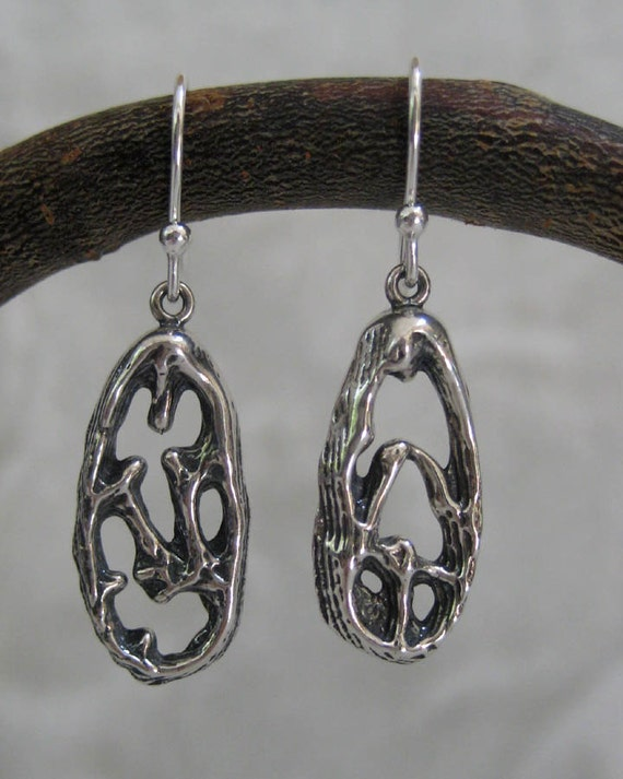 Sale 10% OFF & FREE SHIPPING - Earrings - Oxidized Silver Long Oval - Cuttlefish Bone Casting - Modern Jewelry by Jyoti McCall