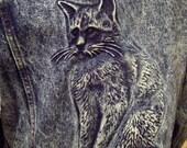 Stone Wash Denim Jacket -- Medium -- Amazing Kitty Cat Image on Back