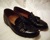 Leather Loafers MadMen Style -- Black -- Crazy Swag -- 8 1/2