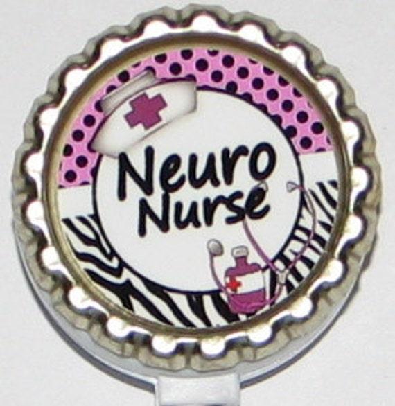 Neuro Nurse retractable ID badge holder nurse by Treazuresbydebbie