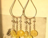 Sundrop Earrings-- Sterling Silver and Yellow Quartz