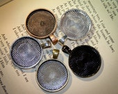 6 Settings for Jewelry Making  Round 1 inch (25 mm) for  Photo Jewelry, Charms  or Altered art  Lead Free DIY