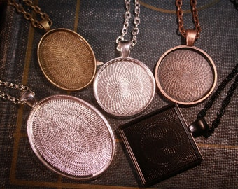 WHOLESALE 15 piece Complete Pendant Sampler kit  - 5 Blank pendants, 5 Matching glass and 5 Necklaces