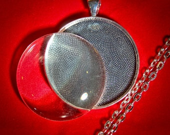 10 Complete Necklace Kits - 30 Piece Kits - Extra Large 1 1/2 inches (38 mm) Round Blank - Photo Pendant  Bezel Tray