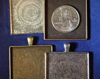 12 - 35 mm Extra Large Square Blank Photo Pendant Trays - customizable blank settings - Lead and Nickel free