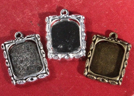 10 Rectangle Picture Charms - for Family photos, charm bracelets or Initials - Jewelry making
