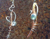 "OOAK Silver  Earrings, Copper, Labradorite...Artisan Jewelry...""Dream Blades of Mari The Murmillion""..."