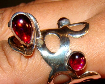 Crimson Cobra Ring...DO NOT BUY! Hold for Mohini. Ooak with deep-red garnet cabochons and handmade Sterling Silver band