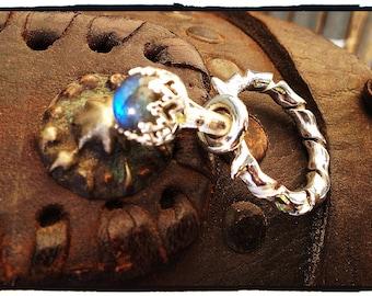 The Eglantine Ring of Naamah...OOAK Handmade Sterling Silver and Blue-Flash Labradorite Ring of Legend