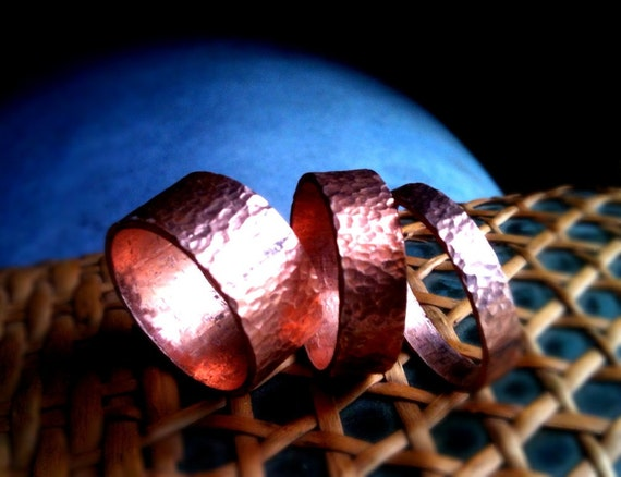 Bands of Aphrodite...Handmade Stackable Rings of pure hand-forged lustrous pink-to-orange hammered copper