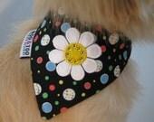 Retro Black and White Daisy with Swarovski Crystals Dog Bandana