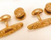 Edwardian Gold Filled Oval Raised Design Cuff Links & Collar Button Set