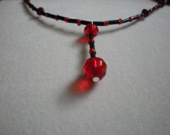 Red and Black Glass and Crystal Necklace and Earrings Set with Pendant