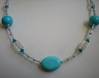 Turquoise Necklace with Milky Glass and Opaque Crystals