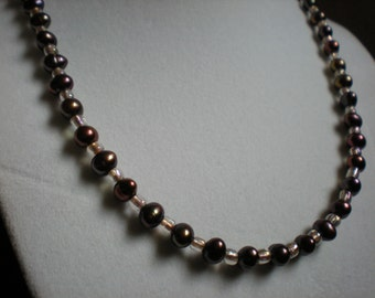 Dark Iridescent Pearl and Gold Glass Necklace