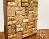 Cork Board - Hardwood Walnut Small Square Frame to Hang or Serve 9 x 9